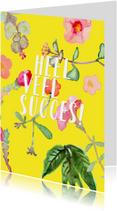 Succeskaart met vrolijke, geschilderde plantjes