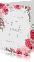 Taufe Glückwunschkarte rosa Rosen