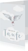 Taufe Gratulationskarte mit Taube und Wolken