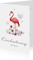 Taufeinladung Flamingo, Blumen und Herzen