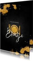 Tegoedbon etentje met gouden bestek