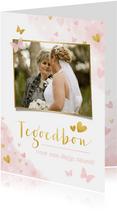 Tegoedbon kaart met foto, roze waterverf hartjes