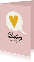 Tekstballon met gouden hart voor een lief berichtje