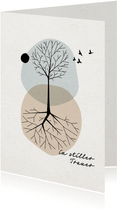 Trauerkarte Baum und Vögel