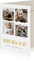 Trendy fotocollage nieuwjaarskaart met 4 foto's en namen