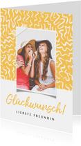 Trendy Glückwunschkarte gelb mit Foto