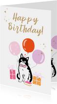 Trendy kaart met geïllustreerde kat glitters en sterretjes
