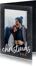Trendy kerstkaart met foto en merry christmas