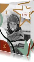 Trendy kerstkaart met grote foto en ster illustraties