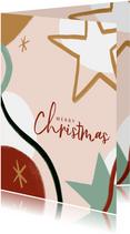 Trendy kerstkaart met merry christmas en sterren illustratie
