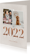 Trendy nieuwjaarskaart 2022 New year 2 foto's in aardetinten