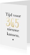 Trendy nieuwjaarskaart 365 nieuwe kansen goudlook ster