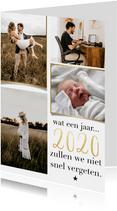 Trendy nieuwjaarskaart fotocollage 2020 niet snel vergeten