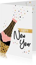 Trendy nieuwjaarskaart met champagne