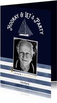 Trendy uitnodiging verjaardag man marinelook met foto