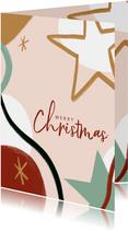 Trendy Weihnachtskarte Stern und Merry Christmas