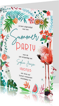 Tropisch zomers tuinfeest met bloemen en flamingo