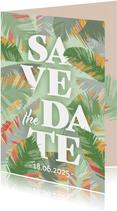 Tropische Blätter Save-the-Date-Karte