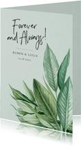 Trouwkaart botanisch groen bladeren stijlvol