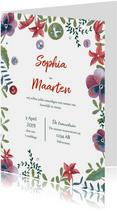 Trouwkaart botanische bruiloft set