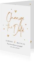 Trouwkaart change the date goud stijlvol hartjes