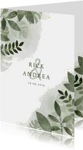 Trouwkaart met botanisch thema, waterverf en gouden spetters