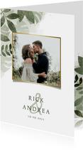 Trouwkaart met foto, botanische print en waterverf