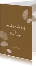 Trouwkaart met Ginkgo bladeren