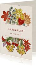 Trouwkaart met prachtige vintage bloemen