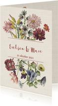 Trouwkaart met stijlvolle pastelkleurige bloemen