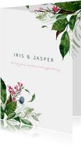 Trouwkaart met watercolor bloemen en bladeren