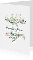 Trouwkaart met wilde bloemen