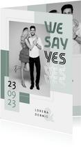 Trouwkaart modern stijlvol foto grafisch