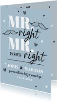 Trouwkaart MR & MR always right grappig illustratie doodle