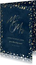 Trouwkaart 'Mr & Mrs' donkerblauw met terrazzo patroon