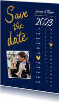 Trouwkaart save the date goud kalender