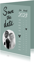 Trouwkaart save the date hip kalender hartjes