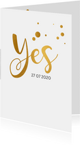 Trouwkaart serie Yes goud