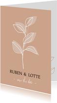 Trouwkaart takje, aanpasbare kleur en tekst