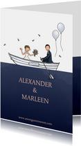 Trouwkaart wit huwelijksbootje