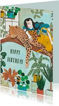 Tuinieren met planten en panter verjaardagskaart