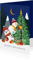 Twee vrolijke sneeuwpoppen versieren de kerstboom