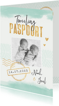 Tweeling paspoort geboortekaartje unisex waterverf goud