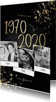 Uitnodiging 1970/2020 jubileum fotocollage met spetters