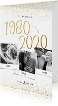 Uitnodiging 1980/2020 jubileum fotocollage met confetti