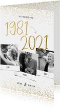 Uitnodiging 1981/2021 jubileum fotocollage met confetti
