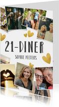 Uitnodiging 21-diner fotocollage met gouden hartjes
