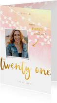 Uitnodigingen - Uitnodiging 21 diner goud met waterverf met lampjes