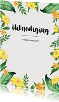 Uitnodiging 21 diner met bladeren en gele bloemen - BK