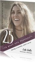 Uitnodiging 25, modern/eenvoudig  met foto
